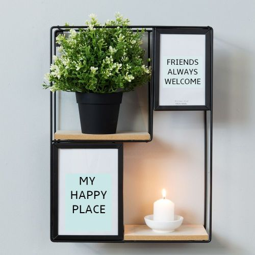 Square Metal Wall Shelf Plant Display Unit With Photo Frames